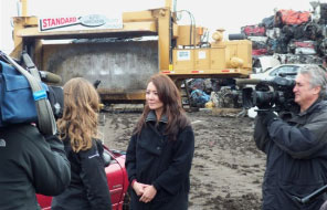 TV Crew Filming an Episode of The Daily Planet at Standard Auto Wreckers in Toronto